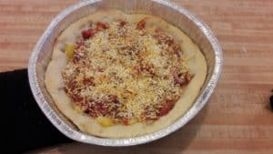 Chicago deep dish pizza with toppings