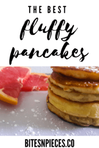 Fluffy pancakes Pinterest cover image.