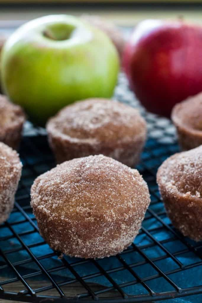 Baked apple cider donut muffins with apples in the background ~ bitesnpieces.co