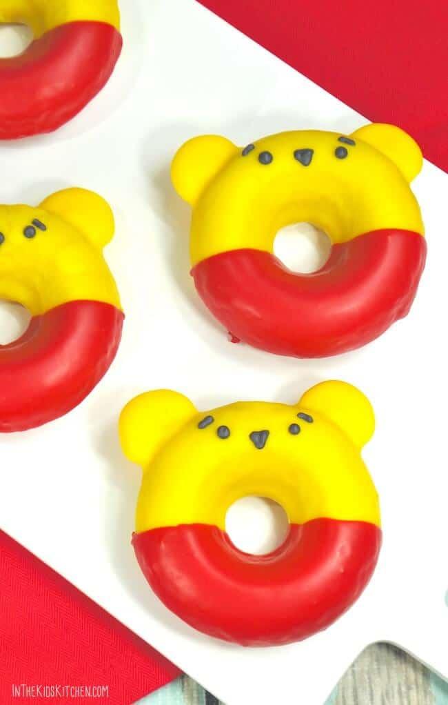 Three Winnie the Pooh donuts lying flat ~ bitesnpieces.co