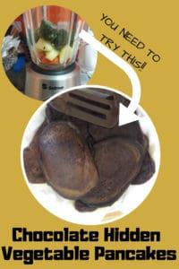 Chocolate hidden vegetable pancakes pinterest graphic.