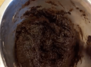 completed brownie batter in a bow;