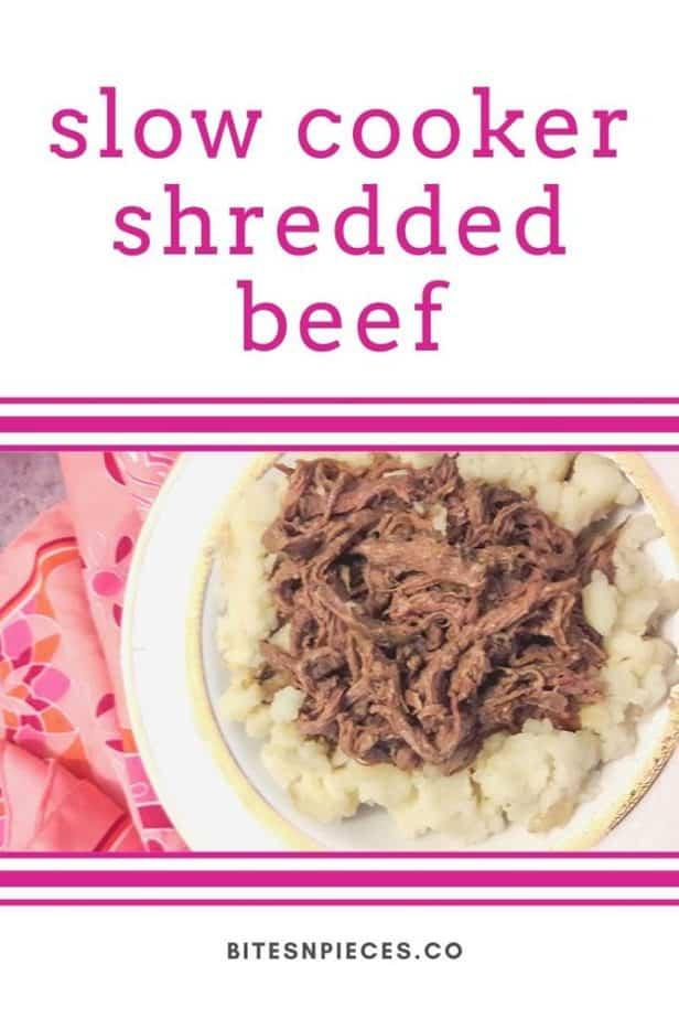 Slow cooker shredded beef Pinterest image 1.