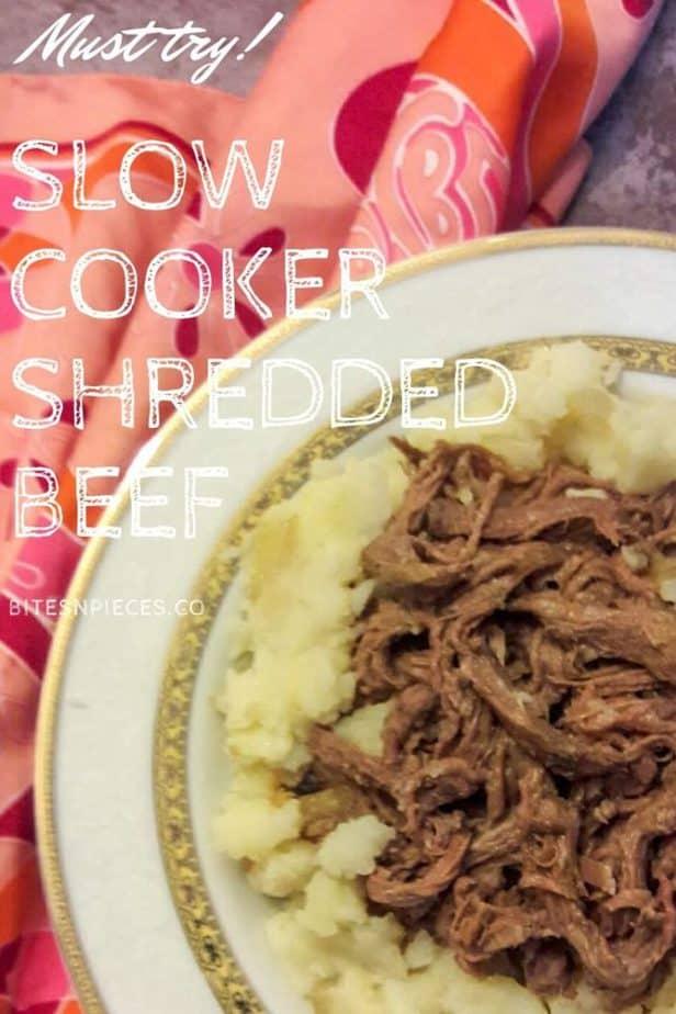 Slow cooker shredded beef pinterest image 2.