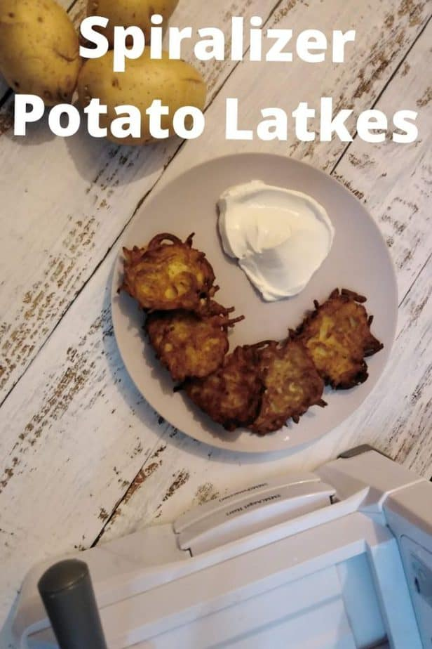 """spiralizer potato latkes"" pinterest image."
