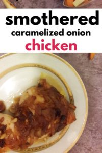 """smothered caramelized onion chicken"" Pinterest image."