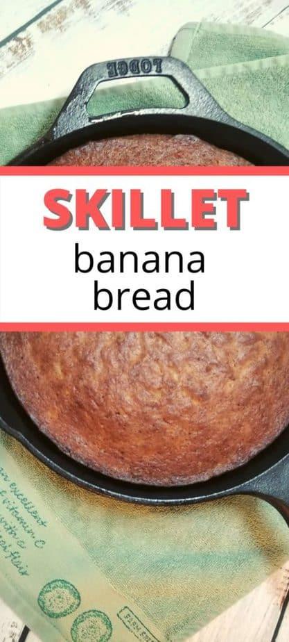 skillet banana bread pinterest image.