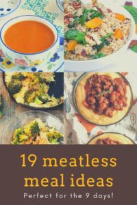 """19 meatless meal ideas"" Pinterest image."