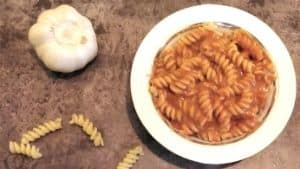 A plate of pasta with no vodka vodka sauce. Scattered in the background is a head of garlic and a few pieces of pasta.